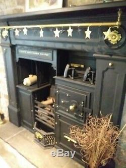 1800s Antique Cast Iron Kitchen Cooking Range Fireplace
