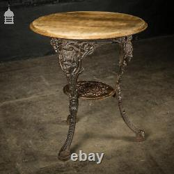 19th C Cast Iron Pub Table Base With Round Bleached Brushed Oak Top