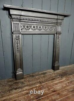 19th Century Antique Victorian Large Cast Iron Fireplace Surround (383)