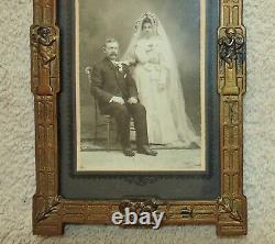 19th c. Victorian Picture Photo Frame Barbola Roses Cherubs Ribbon & Bow Antique