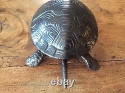 19thc Victorian Cast Iron Turtle / Tortoise Hotel Service Desk Bell