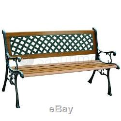 2 Seater Cast Iron Garden Outdoor Victorian End Park Bench Seat Lattice Back Arm