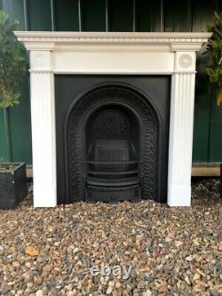 A Beautiful Cast Iron Arch Insert Fireplace & Wooden Surround (91)