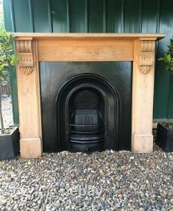 A Beautiful Cast Iron Arched Insert Fireplace & Solid Wood Surround (55)
