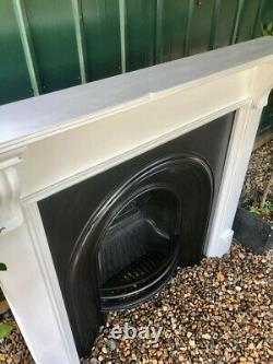 A Beautiful Cast Iron Arched Insert Fireplace & Solid Wood Surround (81)