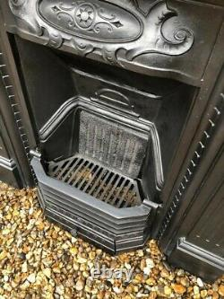 A Beautiful Decorative Original Antique Cast Iron Combination Fireplace Complete