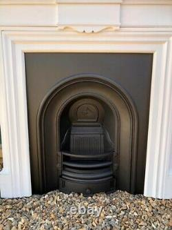 A Beautiful High Quality Cast Iron fireplace insert & White Painted Surround