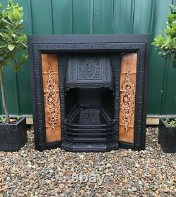 A Beautiful & Rare Antique Tiled Cast Iron Fireplace Insert