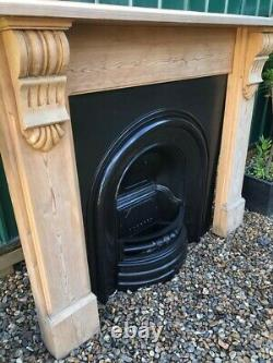 A Lovely Cast Iron Arch Insert Fireplace & Solid Wooden Surround