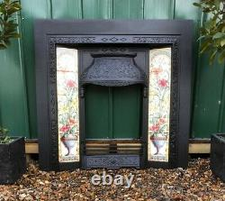 A Lovely Detailed Cast Iron Fireplace Tiled Insert