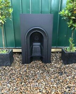 A Lovely Victorian Antique Cast Iron Arch Insert Fireplace