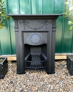 A Lovely Victorian Antique Cast Iron Combination Mantle Fireplace