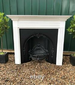 A Stunning Cast Iron Arched Insert Fireplace & White Wooden Painted Surround