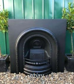 A Stunning High Quality Cast Iron Arched Insert Fireplace Complete