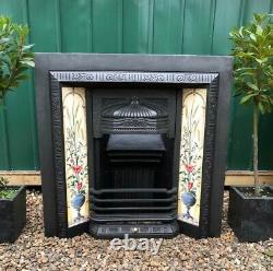 A Stunning High Quality Cast Iron Tiled Insert Fireplace