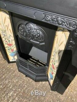 A Stunning High Quality Cast Iron Tiled Insert Fireplace Complete