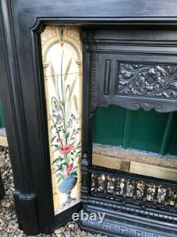 A Stunning Original Antique Victorian Tiled Cast Iron Fireplace circa 1899