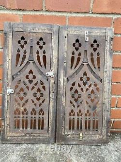 A Stunning Pair Of Victorian Gothic Oak And Cast Iron Communion Cupboard Doors