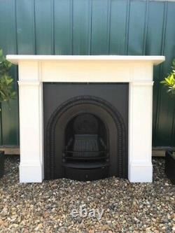 A stunning Antique Cast Iron Insert Fireplace & Wooden Surround Complete