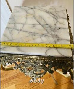 AntIque Vintage Victorian Bass Plant Fern Stand Ornate Table MARBLE BRASS