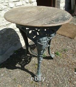 Antique 3 part cast iron base Britannia PUB TABLE oak barrel lid top garden
