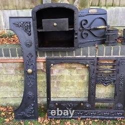 Antique Cast Iron Cooking Range Victorian Kitchen Fireplace Hob Old Spare Repair