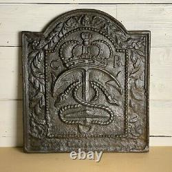 Antique Cast Iron Fire Back with Crown and Anchor Detail