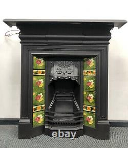Antique Cast Iron Fireplace with Antique Tiles DELIVERY free or £35 most UK