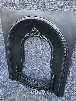 Antique Cast Iron Victorian Fire Surround / Fireplace Insert, Arched Uk Delivery