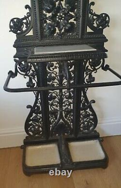 Antique Coalbrookdale Hall Stand Decorative Cast Iron Umbrella Coat Hat 18th C
