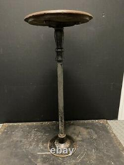 Antique INDUSTRIAL Stool CAST IRON & WOOD Bar Counter DINER Shop VINTAGE Swivel