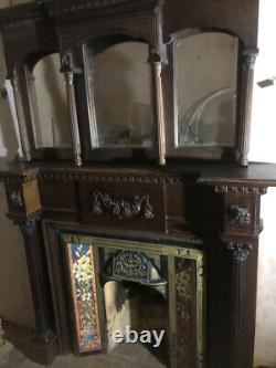 Antique Reproduction Vintage Victorian Cast Iron Wood Mirror Fire Surround