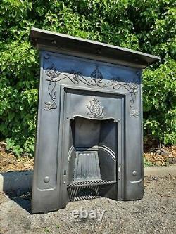 Antique Victorian Art Nouveau Cast Iron Fireplace Old Flower