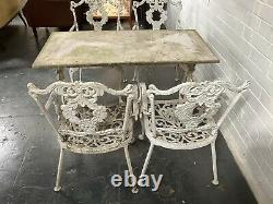 Antique Victorian Cast Iron Garden Table With Marble Top & 4 Cast Metal Chairs