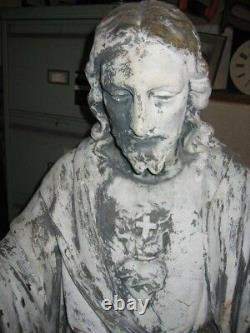 Antique Victorian Cast Iron Jesus Church Statue 4 Ft 10 Rescued From A Convent