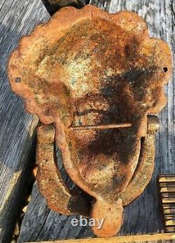 Antique Victorian Door Knocker Cast Iron Greek Goddess Dramatic Rustic 2.5 lb