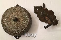 Antique Victorian Eastlake Design Bronze Mechanical Doorbell & Lever Pull c1878