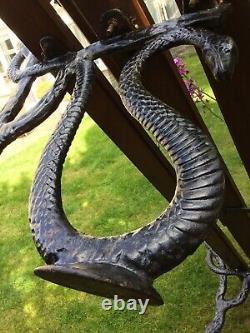 Antique Victorian Garden Bench Serpentine Snake Design End Old Forged Cast Iron