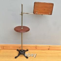 Antique Victorian Music Reading Stand Adjustable Cast Iron Base Marked S H & S