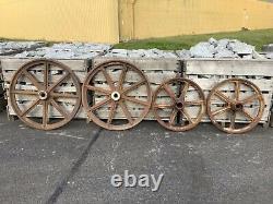 Antique Victorian Original Cast Iron Shepherds Hut Wheels Set of Four Palletised