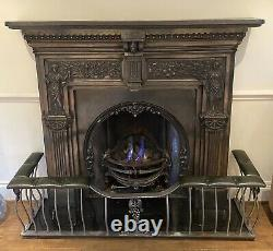 Antique Victorian Reproduction Cast Iron Fireplace Surround