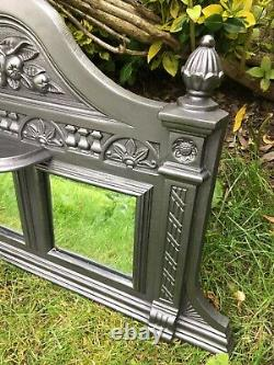 Antique Victorian Style Cast Iron Mirrored Overmantle Surround Fireplace (QP446)