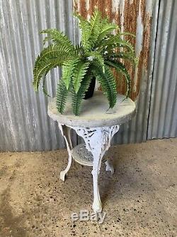 Antique Vintage White Cast Iron Garden Britannia Table Stone Top Pub Bistro