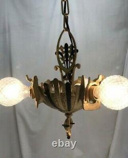 Antique Vtg Chandelier Victorian Arts & Crafts Deco Hanging Light 20s Gold Black