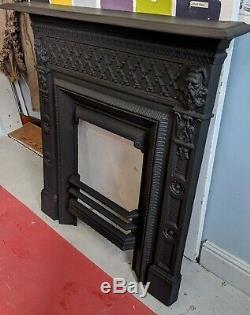 Antique cast iron Victorian bedroom Fireplace Original fire surround Vintage