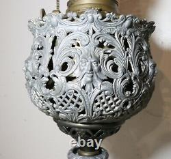 Antique ornate brass cast iron marble figural electrified oil table parlor lamp