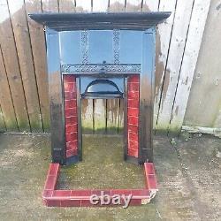Antique tiled victorian cast iron fire surround