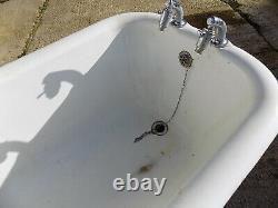 Antique, victorian, freestanding, roll top, Doulton, enamel, cast iron, bath tub, bath