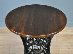 Attractive Antique Victorian Heavy Cast Iron Pub Garden Britannia Side Table