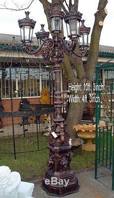Beautiful Victorian Style Large Cast Iron 5 Headed Lantern Lamppost